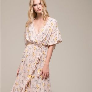 Moon River Floral Wrap Dress in Pink